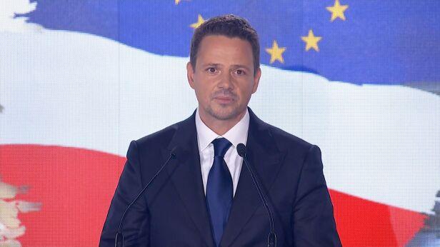 Rafał Trzaskowski  podczas konwencji Koalicji Obywatelskiej Zdjęcia organizatora, TVN24