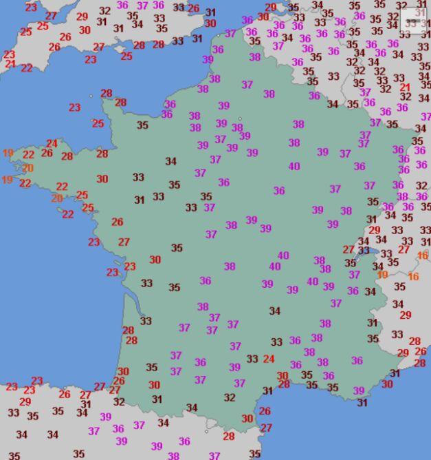 Temperatura maksymalna we Francji 31 lipca (wetteronline.de)