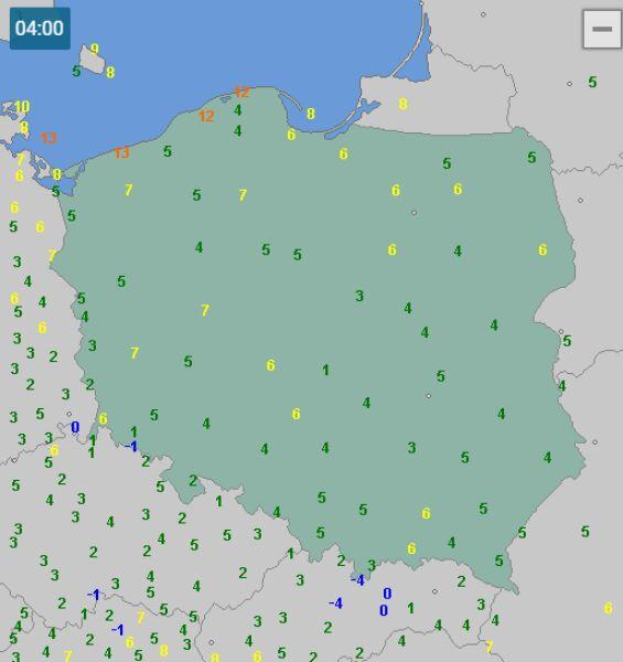 Temperatura w Polsce 20 września o godzinie 4 (wetteronline.de)